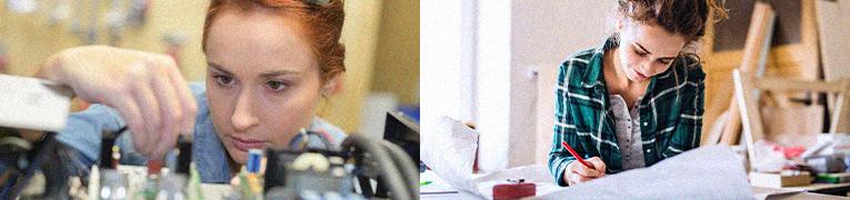 2 fotos, a direita uma mulher trabalhando em um projeto, uma mesa cheia de papeis e há cavaletes de madeira ao fundo, fazendo parecer que é uma artista ou arquiteta, a esquerda uma mulher mexendo em alguns frascos como quem esta examinando o que vê.